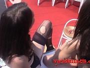 Hor brunette pornstar in public action at SEB 2015