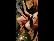Asian Bar Girl Squirts In Public