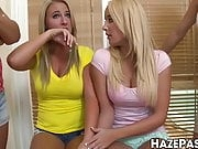 Shameless college babes fuck with a clueless frat dude