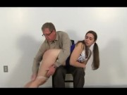 Cheerleader is spanked by her step father for lying
