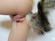 Watch Me Get Dripping Wet Fucking My Ass With Tail Buttplug